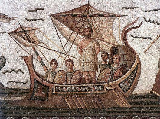 Ulysse attaché au mât de son navire, afin de ne pas succomber au chant des sirènes. Mosaïque romaine. IIIe siècle.