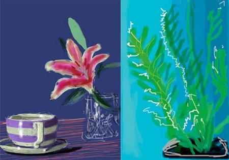 """David Hockney, """"Sans titre"""", 2010, dessin numérique sur iPad (à gauche) et 2009, dessin numérique sur iPhone (à droite)"""