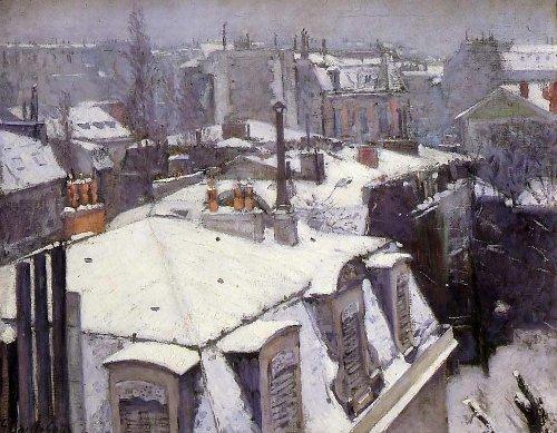 Gustave Caillebotte - Vue de toits, effet de neige - 1878