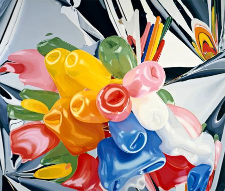 "Jeff Koons, ""Tulips"", huile sur toile, 1995-1998"