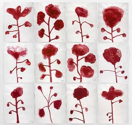 """Louise Bourgeois """"Les Fleurs"""", gouache sur papier, 2009"""