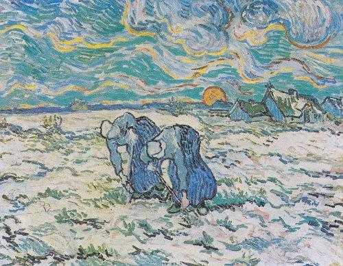 Van Gogh - Deux paysannes bêchant dans un champ de neige